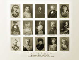 A collection of headshots of the first Benjamin Rose all-female board of directors established in 1908